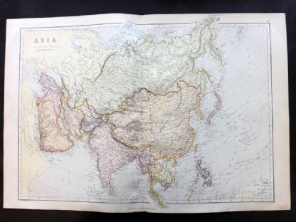 Blackie & Weller 1882 Antique Map. Asia Continent.